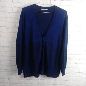 T by Alexander Wang blue and black cardigan